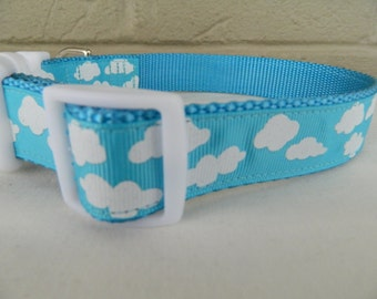 Puffy White Clouds on Bright Blue Dog Collar