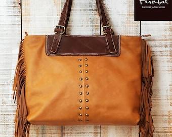 Fringe tote bag, large leather bag, caramel tote bag, camel leather tote