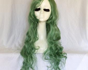 Long Green Curly Wig Wavy Mermaid Hair Handmade Unique Cosplay Wig
