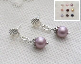 Dangle Pearl Earrings, Seashell Pearl Earrings, Sterling Silver, Pink Pearl Earrings, Colored Pearls, Shell Pearl Drop Earring Posts, Custom