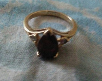 Ruby stone gold filled avon ring size 5-6