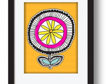 FLOWER POWER YELLOW mounted & ready to frame