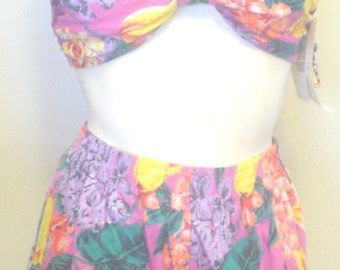 NWT CATALINA Swimsuit Bikini Elastic Waist Swim Shorts Sz S Removable Halter Strap Floral Pattern Teal Purple Pink Orange Travel Resort BIN