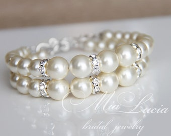 Pearl Bridal Bracelet, Vintage Wedding Bracelet, Vintage Bridal Bracelet, Pearl Wedding Bracelet for Bride, Bridal Jewelry Wedding art b03