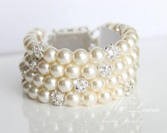 Bridal Pearl Bracelet, Bridal Bracelet, Pearl Wedding Bracelet,  Wedding Bracelet, Wedding Jewelry Pearl Bridal Jewelry Cuff Bracelet, b07