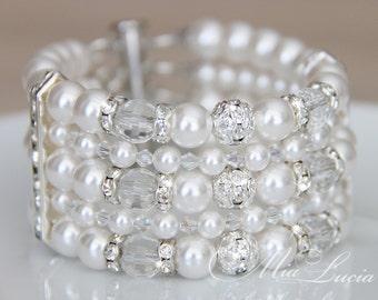 Pearl Cuff Bracelet, Chunky Wedding Bracelet, White Pearl Bridal Bracelet, Swarovski Bridal Bracelet, Wide Bracelet, Pearl Bracelet b08