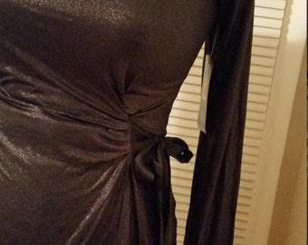 Retro Sparkly black top with side tie
