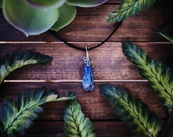 Wire Wrapped Blue Rock Crystal Necklace Pendant Bohemian Jewelry