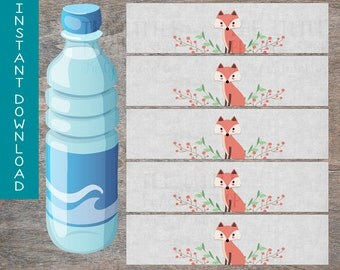 Woodland Fox Baby Shower water bottle wraps labels printable and digital file |  Gray Red Drink Labels