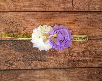 Lavender, Ivory, and Gold Shabby Flower Headband