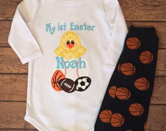 My 1st Easter Baby Bodysuit and Basketball Legwarmer Set