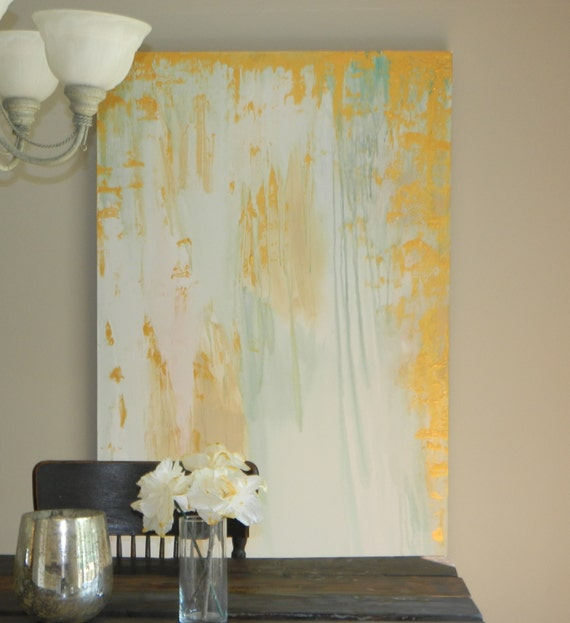 """Huge 60"""" x 42"""" XL Modern gold white turquoise blue abstract contemporary painting by Marcy Chapman large wall art decor elelgant artwork"""