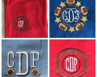 Football Monogram T-shirt, Tailgating T-shirt, Football Fan T-shirt, Lots of options