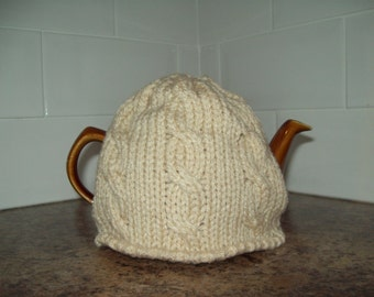 Chunky knit tea cosy. Small. Selection of colours. CREAM, VANILLA, MOCHA, Burgundy, Denim. Cable detail