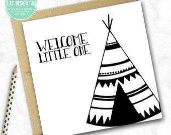 New Baby Mini Card {Monochrome TeePee}