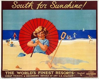 Vintage Southern South For Sunshine Railway Poster A3 Print