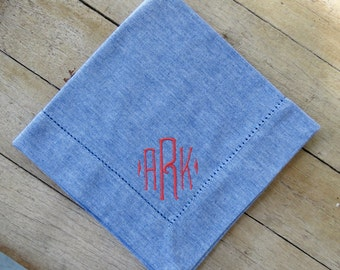 Monogrammed  Hemstitched Cotton Napkins- Comes in 2 colors and sets of 4, 6, 8, and 12