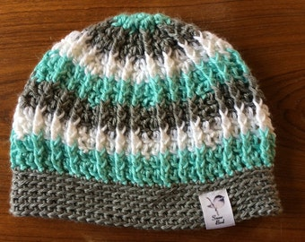 Crochet Tri-Colored Stripes and Cables Beanie.