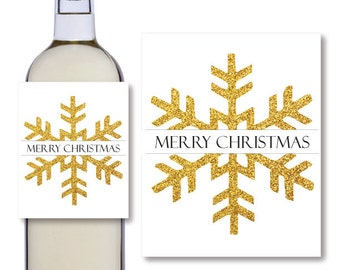 Gold Glitter Snowflake Christmas Labels - Wine Bottle Labels - Printable Wine Bottle Labels