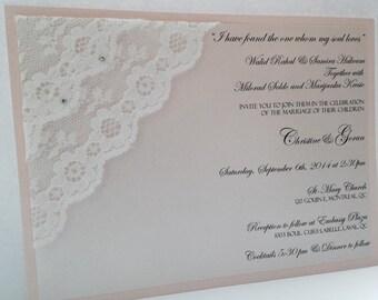 Lace invitations, Wedding invitations, Vintage invitations, Blush invitations, Romantic invitations, Classic invitations,