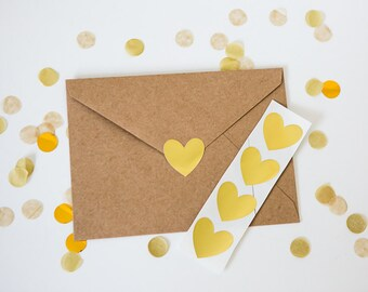 48 Metallic Gold Stickers // Heart