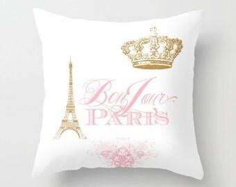Paris pillow, Bonjour Paris Pink, gold, white throw pillow,rectangle,  Eiffel Tower, girlie, crown, throw pillow, home, decor, designer