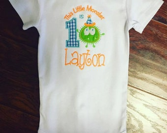 Personalized Monster First Birthday Onesie