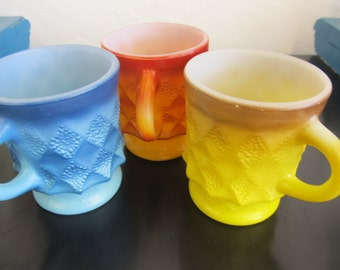 Set of 3 Colorful and Funky Anchor Hocking Fire King Coffee Cups