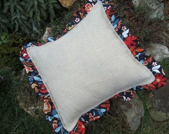 Burlap Pillow Cover Burlap & Cotton Ruffles Pillow Country Home Decor