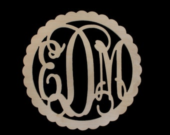 Scalloped Wood Monogram