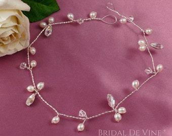 Elegant Bridal Hair Vine Freshwater Pearls and CRYSTALLIZED™ - Swarovski Elements