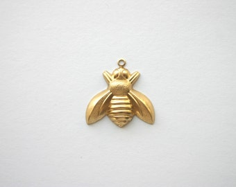 4 Lg Queen Bees Raw Brass - 25mm x 25mm Made in USA