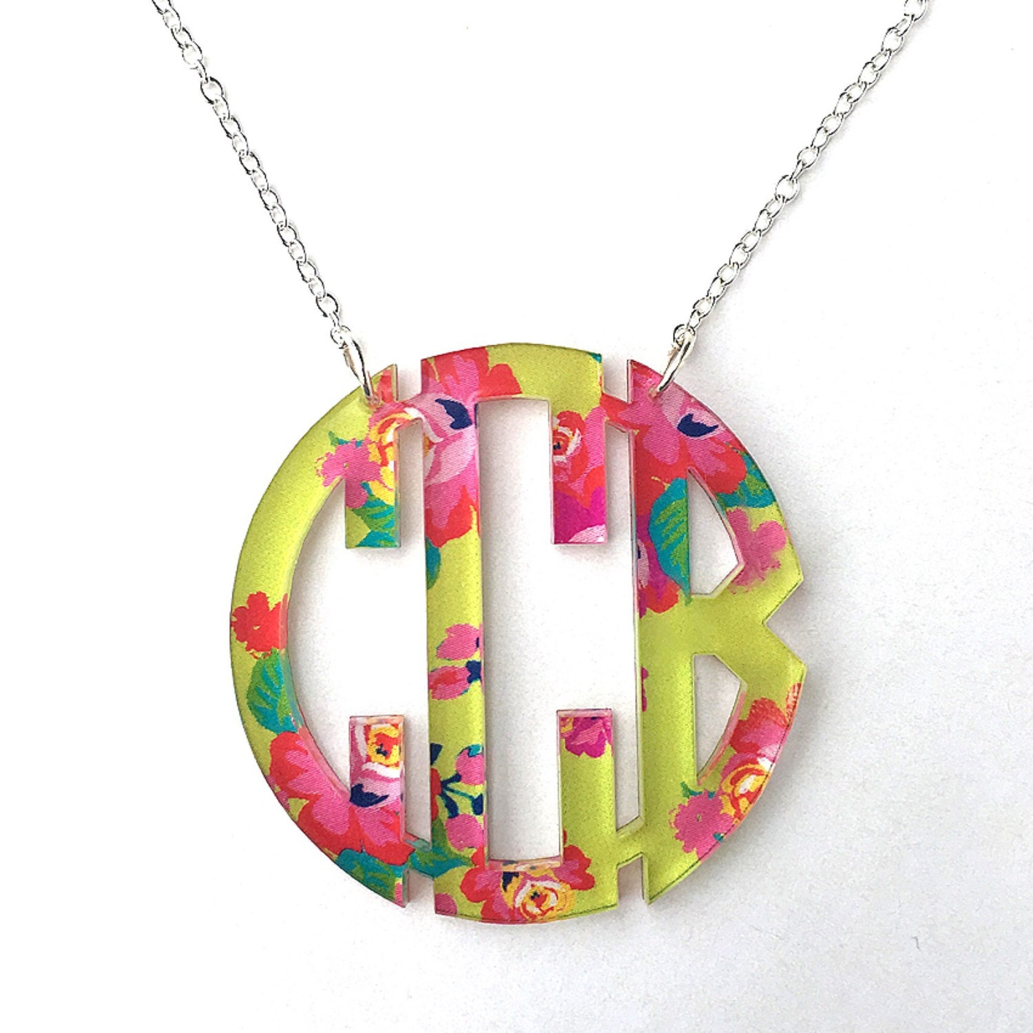 monogrammed necklace acrylic monogrammed necklace lilly