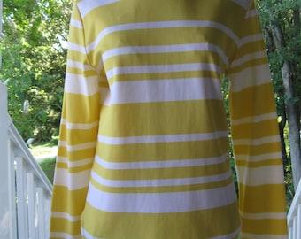 Groovy Vintage Striped Mock Turtleneck Yellow White Small Medium 60's 70's