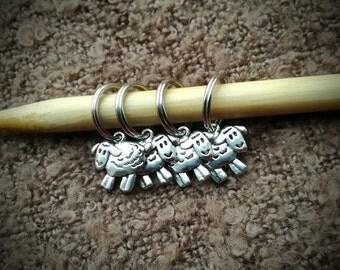 Knitting Stitch Markers ~ Chunky Knitting ~ Set of 4 Sheep Stitch Markers ~ Knitting Notions