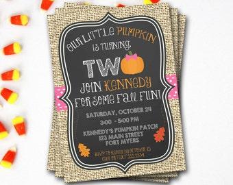 Pumpkin Birthday Invitation, Pumpkin First Birthday, Pink Pumpkin, Fall Birthday, Halloween Birthday, Pumpkin Invitation, DIY Printable