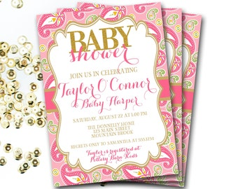 Pink And Gold Paisley Baby Shower Invitation, Pink And Gold Invitation, Pink And Gold Baby Shower, Baby Sprinkle Invitation, DIY Printable