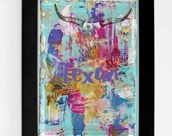 Texan- 8 x 10 art print- digital download- texan, texas