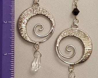 Silver swirl dangle posts
