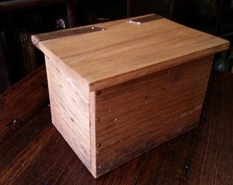Salvaged beech barnboard box - Smudge box