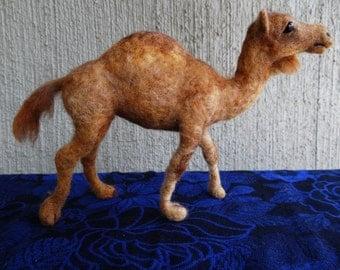 Needle Felted Wool Animal Dromedary Camel by Carol Rossi