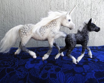 Unicorn Mare and Foal Needle Felted Wool  Created by Carol Rossi Just for You!