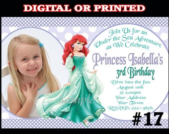 Ariel Invitation with Photo Birthday Party You Print Digital OR Printed The Little Mermaid Princess Ariel Birthday Party Invitation