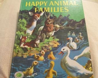 "Vintage Children's Book ""Happy Animal Families"" Book, Copyright 1952"
