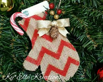 Mitten Gift Card Holder & Ornament, Burlap Mitten Ornament, Christmas Tree Ornament, Gift Card Holder, Present,