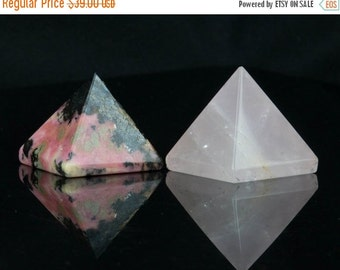 Limited Time Sale. Rose Quartz and Rhodonite Pyramids, Plutonic Solids