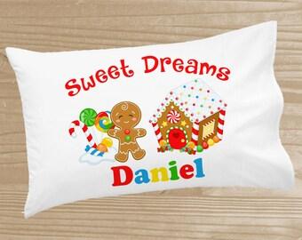 Personalized Christmas Pillowcase - Gingerbread House Pillowcase for Kids - Christmas Holiday Pillow Case - Custom Christmas Pillow Slip