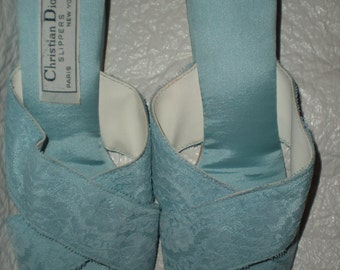 Vintage Christian Dior Blue Satin and Lace Bedroom Slippers Size 7