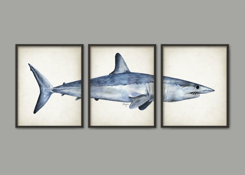Mako Shark Watercolor Art Poster Set Of 3 Shark Art Print