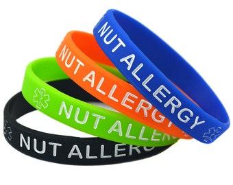 Nut Allergy Alert Awareness Silicone Bracelet Wristband
